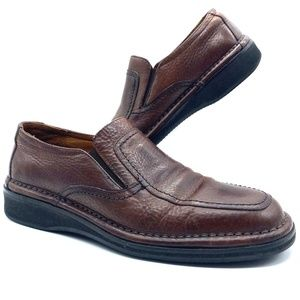 ET Wright brown men's slip on leather loafers.
